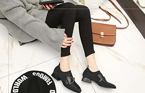 Medio Talla Casuales Negros para 35 34 Mujer 39 Zapatos Tacón de Color Zapatos de Hebilla única Medio Tamaño Negro Zapatos Tacón St1nnCxW