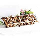 Fjfz Decorative Vintage Driftwood Wrought Iron 4 Tea Light Candle Holders for Party Dining Table