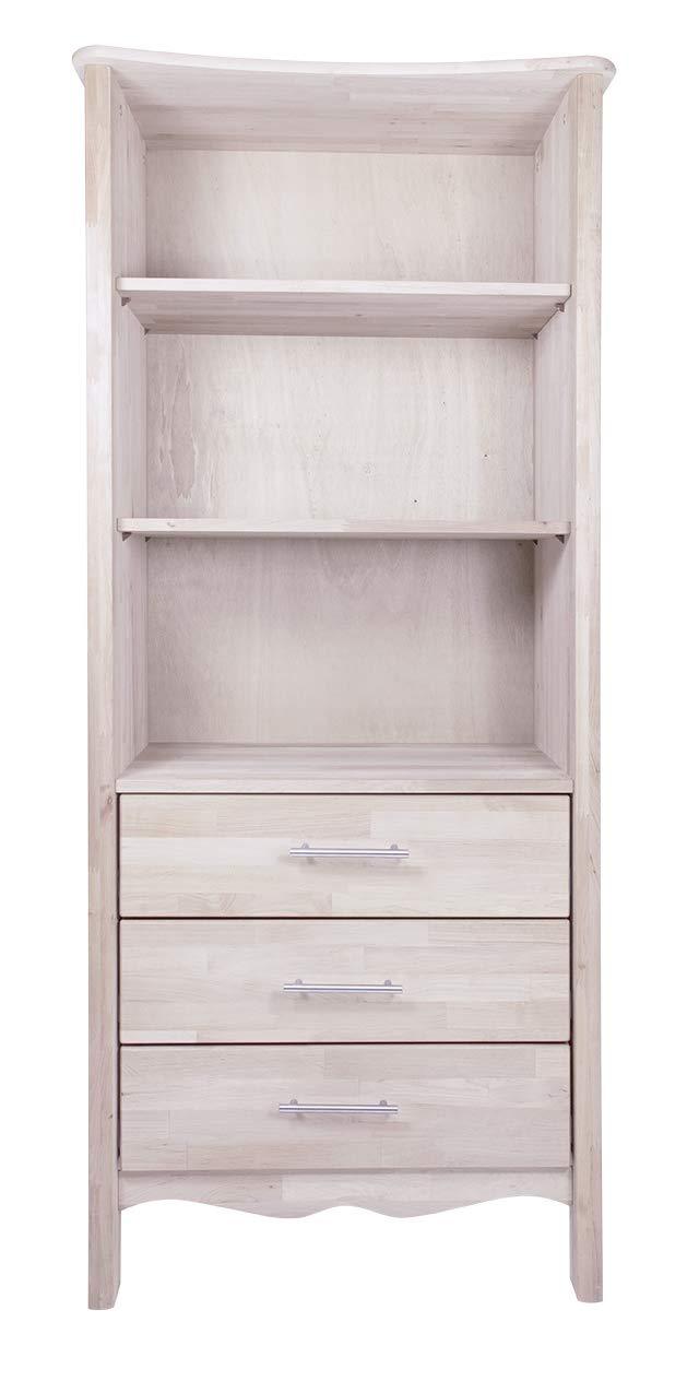BioKinder Feli Kinderregal Holzregal Regal mit Schubladen aus Massivholz Birke 78 x 47 x 180 cm weiß lasiert