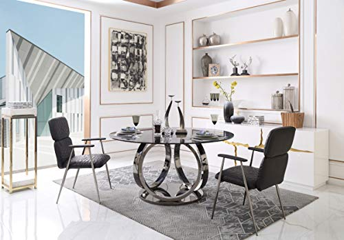 Limari Home LIM-75448 Piccolo Collection Modern Style Smoked Glass Round Dining Table with Polished Stainless Steel Base, Black Gun