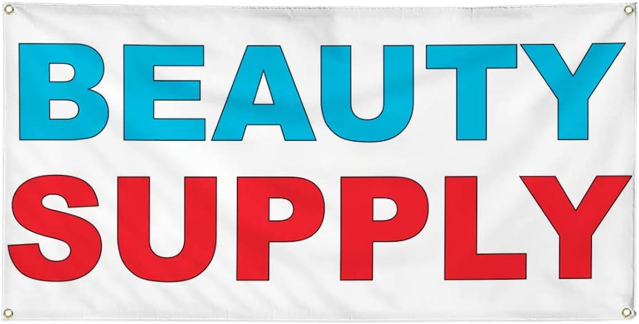 Vinyl Banner Multiple Sizes Beauty Supply Blue Red Business Outdoor Weatherproof Industrial Yard Signs 8 Grommets 48x96Inches