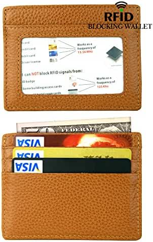 Front Pocket Wallet, Leather Slim Card Holder Wallet with RFID Blocking