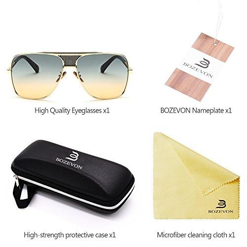 la de Vendimia Gafas Alta Metálico de la sol del BOZEVON calidad Aire Estilo al Hombres 09 Marco de UV400 Protección Libre 8qOqwZ