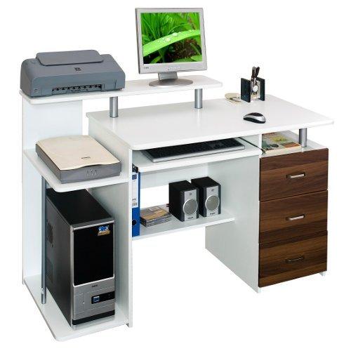 hjh Office 673951 Bureau / Table Informatique Stella Caisson à Tiroirs Fixe Blanc / Noyer Panneau Aggloméré product image
