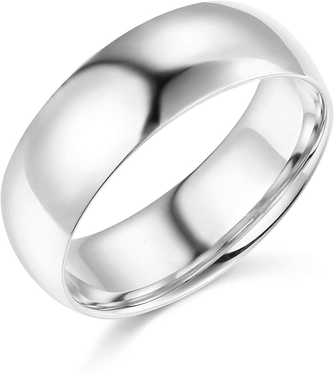 Wellingsale Mens 14k Yellow -OR- White Gold Solid 7mm COMFORT FIT Wedding Band Ring