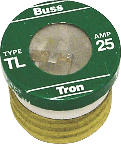 Bussmann TL-25 Low Voltage Medium Duty Time Delay Plug Fuse, 125 Vac, 25 A, 10 Ka