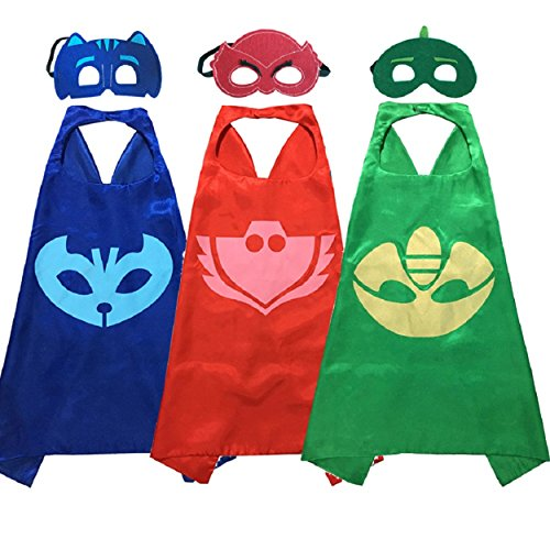 [Babylian Masks Costumes Catboy Owlette Gekko Mask with Cape for Kids (Set of 3)] (Kids Costumes)