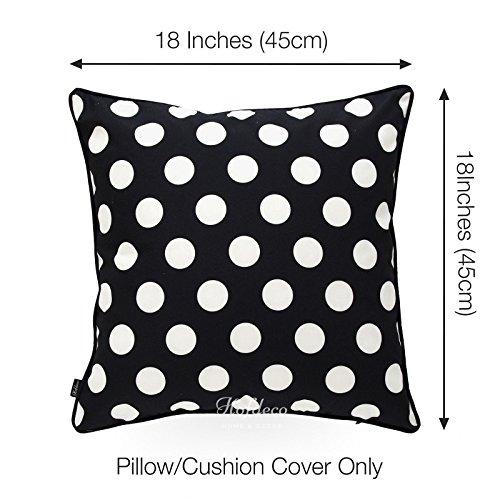 Hofdeco Decorative Throw Pillow Cover INDOOR OUTDOOR WATER RESISTANT Canvas Modern Black Dots 18''x18'' by Hofdeco (Image #2)