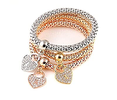 MFV Tri-Tone Popcorn Style Charmed Bangle Bracelet Women Fashion Jewelry - Set in 8 Styles
