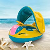 Sunshade Canopy Baby Float Boat kids Toddler Summer Swimming Pool Bath Play Toys Swimming Ring Raft Float Tube Seat Inflable Baby Float Boat