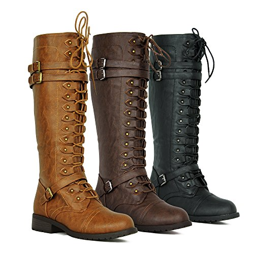 Women's Knee High Riding Boots Lace Up Buckles Winter Combat Boots - stylishcombatboots.com