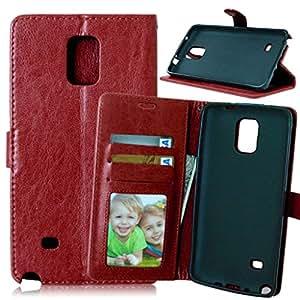 Galaxy Note 4 N9100 Carcasa + Cable Libre, TOMYOU Funda pistolera, PU Billetera Case [Soporte de la función][ranuras de tarjeta][Fotos groove] Case piel para Samsung Galaxy Note 4 N9100 (marrón)