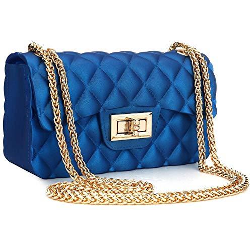 Hurber Women Casual PVC Jelly Bag Dull Polish Argyle Crossbody Bag Vintage Purse Tote Shoulder Handbags Shoulder Bag With Chain (Royal blue 21.5127)