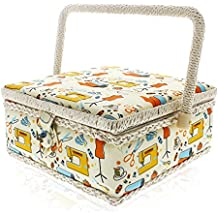 Sewing Kit Basket - Sewing Supplies Organizer For Needles, Thread, Pins, Tape Measure, Thimbles and Other Sewing Accessories 8 x 8 x 4 inches by Juvale