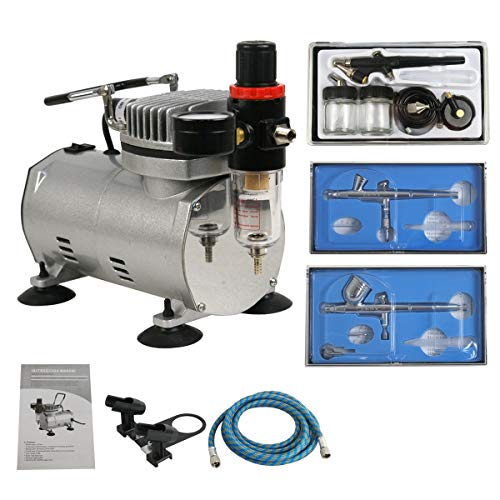 ZENY Pro Multi-purpose Airbrush 1/5HP Airbrushing Compressor Kit System Dual Action Paint Artist Set w/ 3 Airbrushes, 6' Air Hose & Airbrush Holder