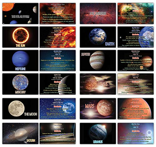 (Creanoso Facts About Planet and Universe Flash Cards (24-Pack - 12 Cards Front & Back Designs x 2 Sets) - Assorted Informational Learning Cards Gift Set for Students, Kids, Teens, Men & Women)