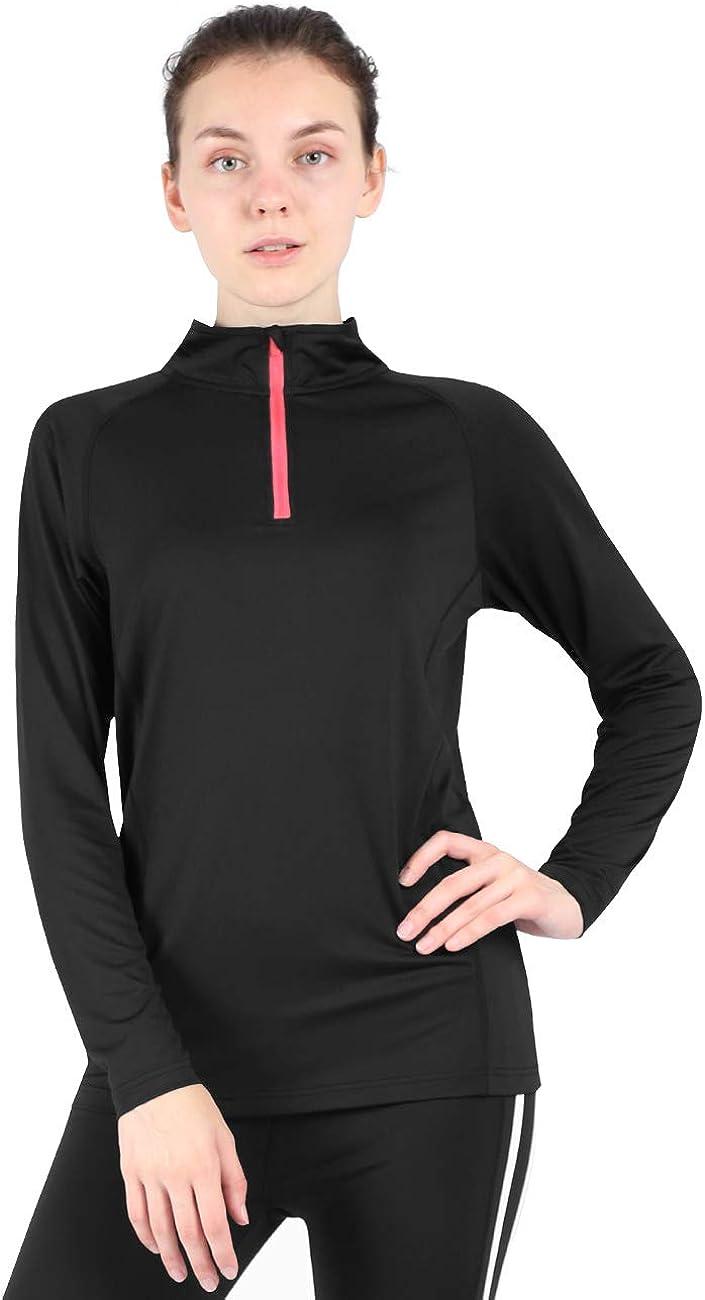 DISHANG Women's Dry-Fit 1/4 Zip Pullover Long Sleeve Running Workout Shirt