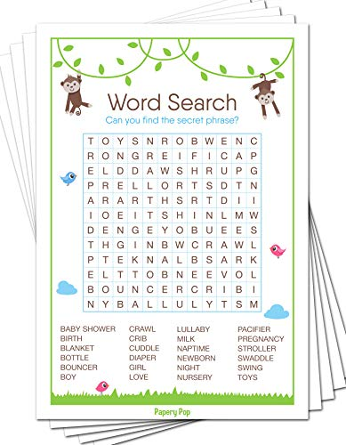 Baby Word Search Game Cards (Pack of 50) - Baby Shower Games Ideas For Boy or Girl - Party Activities Supplies - Safari Jungle Zoo Animals