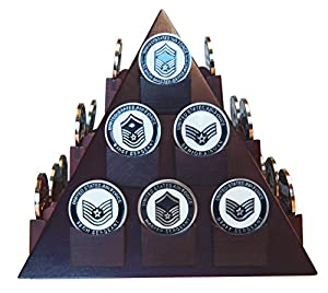 DECOMIL - Pyramid Shaped Military Challenge Coin & Poker/Casino Chip Display Solid Wood - Cherry Finish by DECOMIL LLC