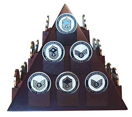 - DECOMIL - Pyramid Shaped Military Challenge Coin & Poker/Casino Chip Display Solid Wood - Cherry Finish