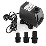 MVPOWER 3000L/H Mini Submersible Pumps Functional Fish Tank Pump for Aquarium Fountain Pond with 3 Outlet Connectors
