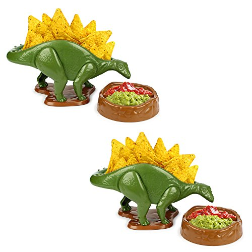 NACHOsaurus Nacho Dip and Snack Dish, Set ot 2 - Dinosaur Stegosaurus Novelty Party Plate Serveware