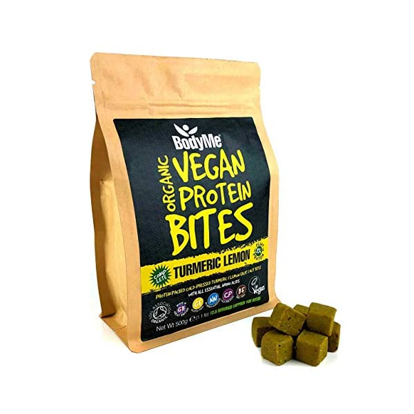 BodyMe Organic Vegan Protein Snacks Bites | Raw Turmeric Lemon | 100 Protein Snack Bites | 27 Percent Protein | Gluten Free | 3 Plant Proteins | All Essential Amino Acids | High Protein Vegan Snacks