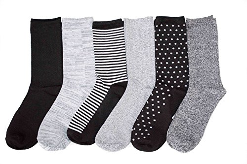 Cuddl Duds Womens 6 Pack Supersoft Warm Crew Socks,Black Pack,One Size