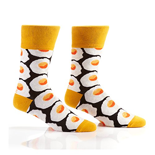 Yo Sox Sunny-Side Up Eggs - Funky Men's Crew Socks for Dress or Casual Wear Size 7-12 for Dress or Casual Wear Size -
