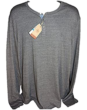 Men's 3 Button Long Sleeve Heathered Henley, Size XL Extra Large, Dark Shadow (grey)