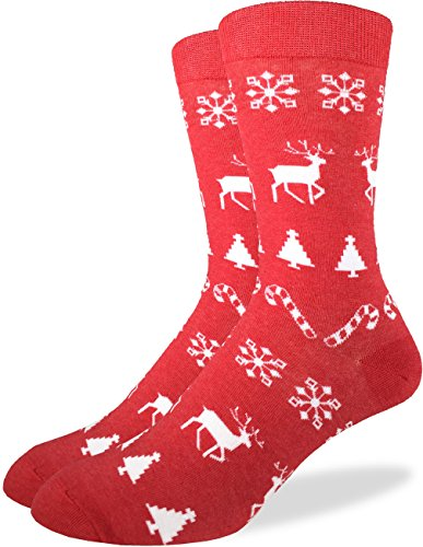 Good Luck Sock Men's Christmas Holiday Crew Socks, Size7-12