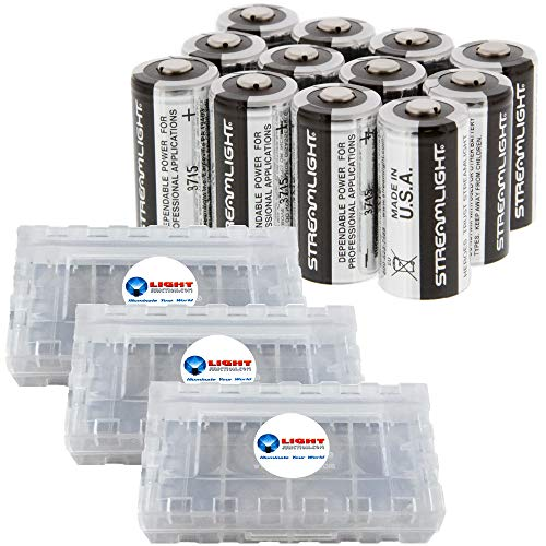 (Streamlight CR123A Lithium Batteries, 12-Pack Bundle with 3 LightJunction Battery Boxes)