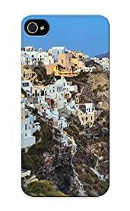 Special Standinmyside Skin Case Cover For Iphone 5/5s, Popular Santorini Greece Landscapes Buildings Architecture Cliff Mountains Boats Ship Ocean Houses Phone Case For New Year's Day's Gift