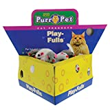 Penn Plax Play-Fulls Cat Toys Fun 2'' Fur Mice in Cute Cheese Box, 60 Pack