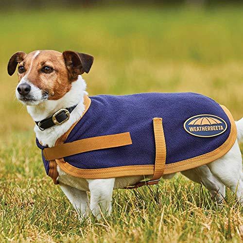 Weatherbeeta Fleece Dog Coat Navy/Gold 24