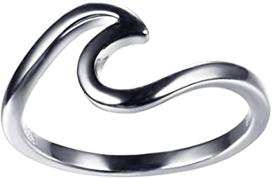 JunXin 925 Sterling Silver Wave Ring Specifically for Girls Women Ring Size 5//6//7//8//9//