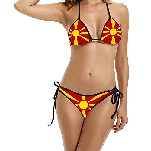 Hotgirl4 Women Unique Macedonian Flag Bikini Two Piece Tankini Black 1 Size