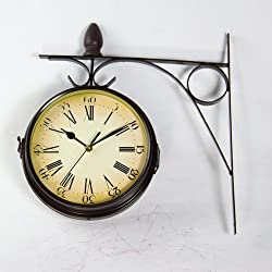 ASIBG Home Retro Wall Clock Garden Fashion Double Sided Wall Clock Hanging Home Decorations
