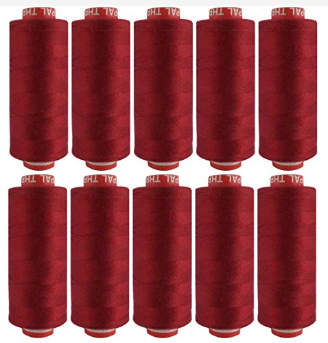 Pack of 10 Spools Maroon Polyester Thread Hand Machine Sewing Craft Serger Yarn-300 meter each