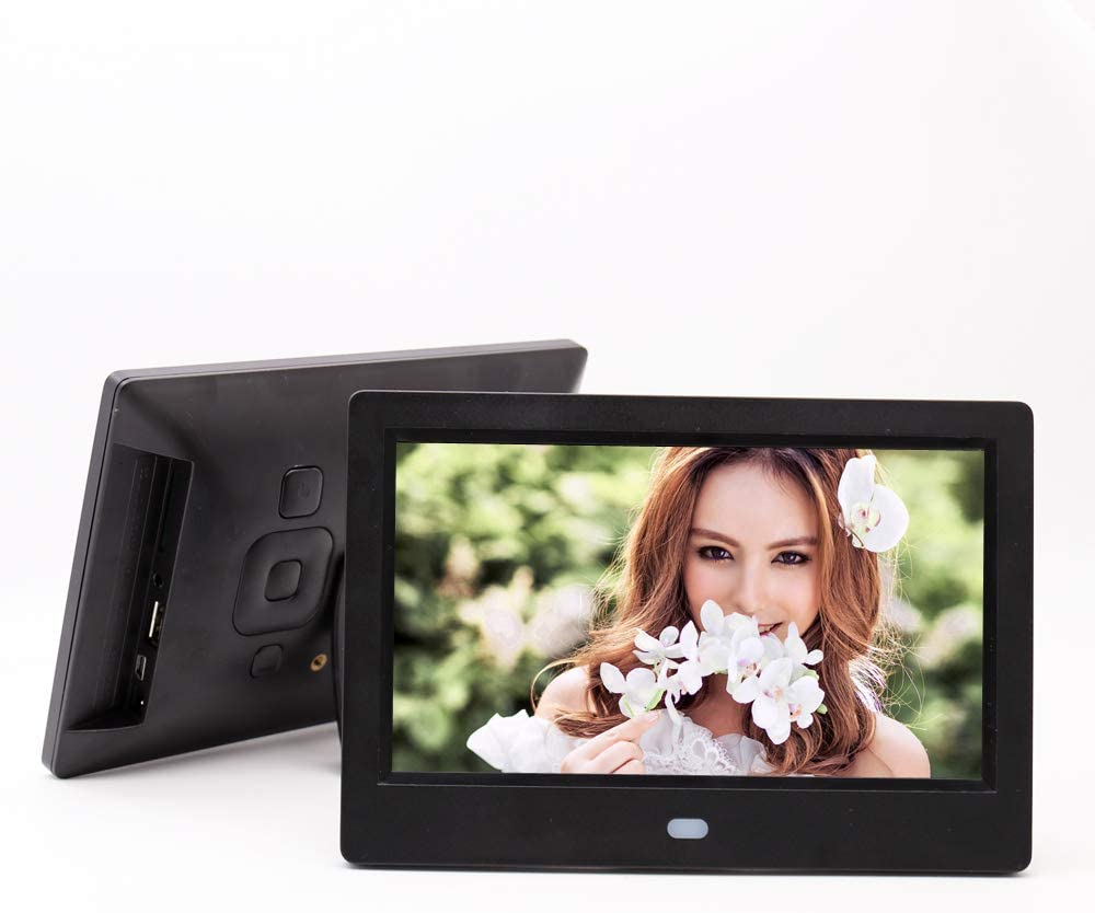 1080P Electronic Photo Frame MP3 Music LoMe Digital Photo Frame 7 Inch 1024/×600 HD Picture Video Supports Multiple File Formats and External USB SD Memory,Black