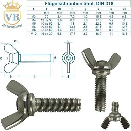 10 St/ück Fl/ügelschrauben M8 X 25 amerik Form /ähnl DIN 316 Edelstahl A2