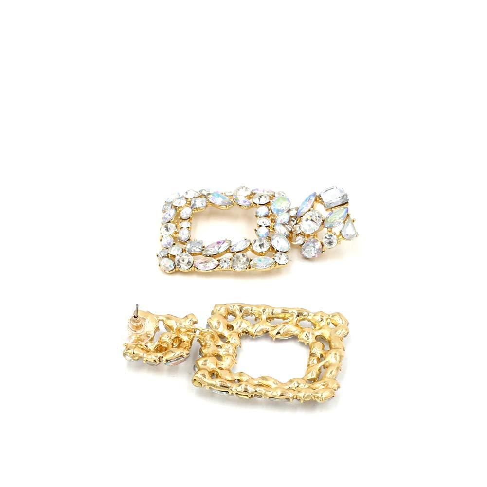 Sparkly Rhinestone Rectangle Geometric Drop Earrings KELMALL COLLECTION