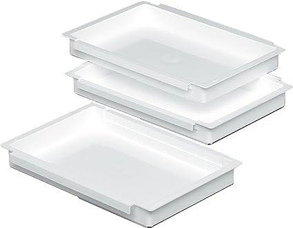 Unimet 6500 - Kit de 3 bandejas de plástico para empanar/rebozar (27 x