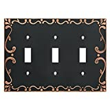 Franklin Brass W35078-VBC-C Classic Lace Triple Switch Wall Plate/Switch Plate/Cover with Copper Highlights, Bronze