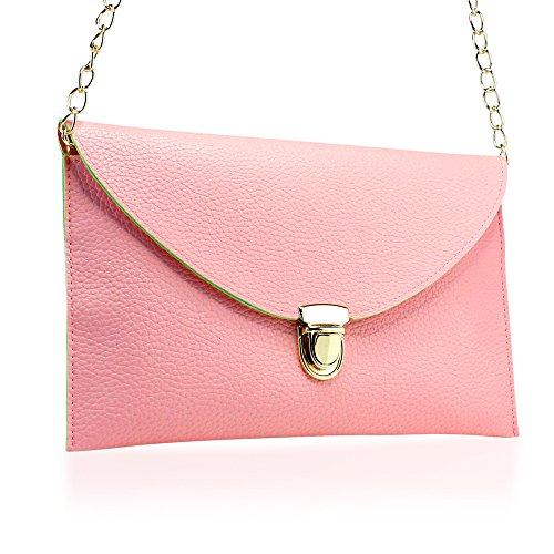 GEARONIC TM Fashion Designer Women Handbag Tote Bag PU Leather Shoulder Ladies Girls Purse Teens For Beach Travel Work Evening Day School Pink