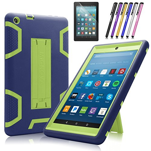 Fire HD 8 2017 case,Fire HD 8 2018 Case WFiveectronics three-layer mixed heavy solid case,shock-proof skid HD 8 flat panel (7th Generation)+screen protector and stylus (Navy Blue/Green)