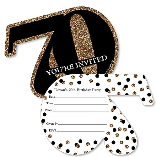 Custom Adult 70th Birthday - Gold - Personalized Birthday Party Invitations - Fill in Invitation Cards with Envelopes - Set of 12