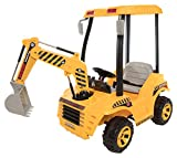Beyond Infinity Wonderlanes Backhoe, 12V Battery Powered Ride on, Yellow/Black/Gray, 64.6'' x 26.8'' x 42.5''
