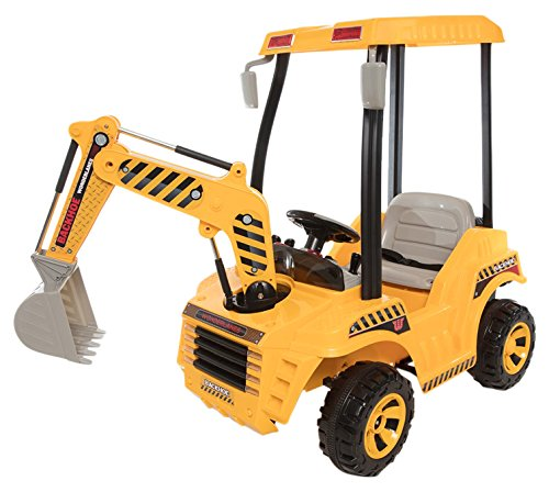 "Beyond Infinity Wonderlanes Backhoe, 12V Battery Powered Ride on, Yellow/Black/Gray, 64.6"" x 26.8"" x 42.5"""