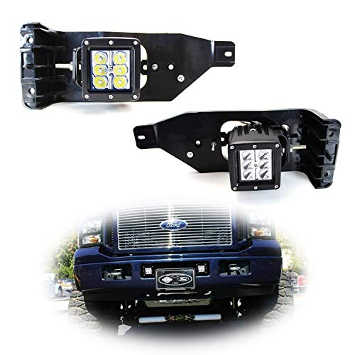 iJDMTOY Foglight Location Fit LED Pod Light Kit For 2005-2007 Ford F250 F350 F450 Super Duty, Including (2) 3-Inch White 24W LED Cubic Lamps, Fog Area Mounting Brackets and On-Off ()